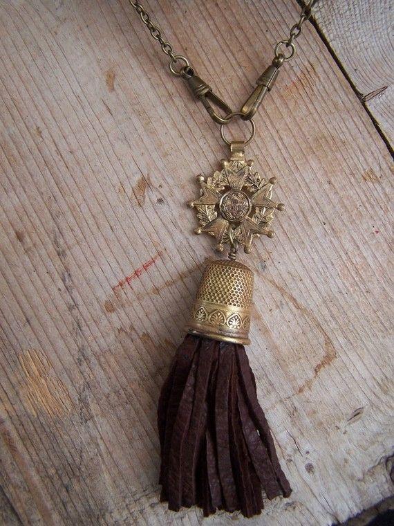 Thimble necklace.  Medal necklace.  Tassel necklace. vintage assemblage necklace
