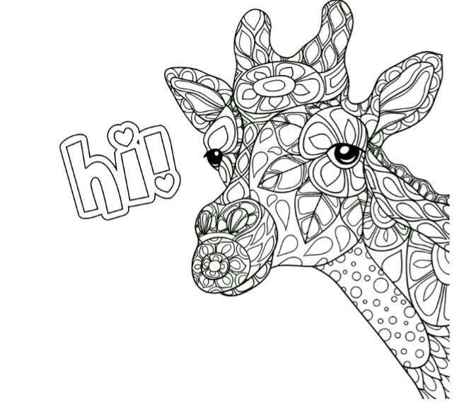 Jirafa coloring pinterest adult coloring zentangle for Giraffe mandala coloring pages