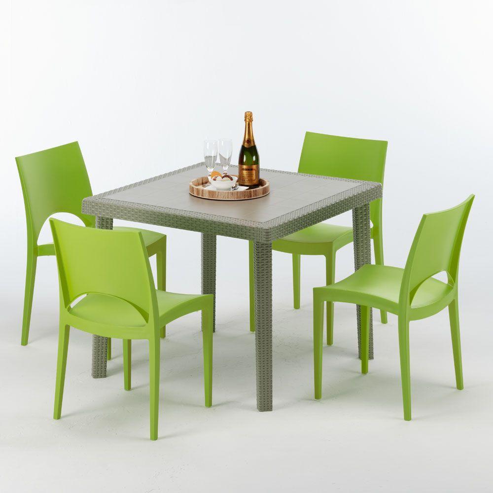 Sedie E Tavoli Per Esterno Bar.Tavolo Quadrato Beige 90x90 Cm Con 4 Sedie Colorate Elegance
