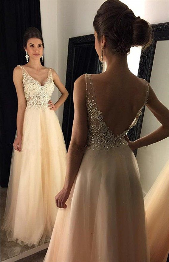 5768b85812 Amazon.com  YuNuo Sparkly Crystal Beading Prom Dresses Long 2017 Sexy Open  Back Party Ball Gown Scoop Bridesmaid Dresses  Clothing