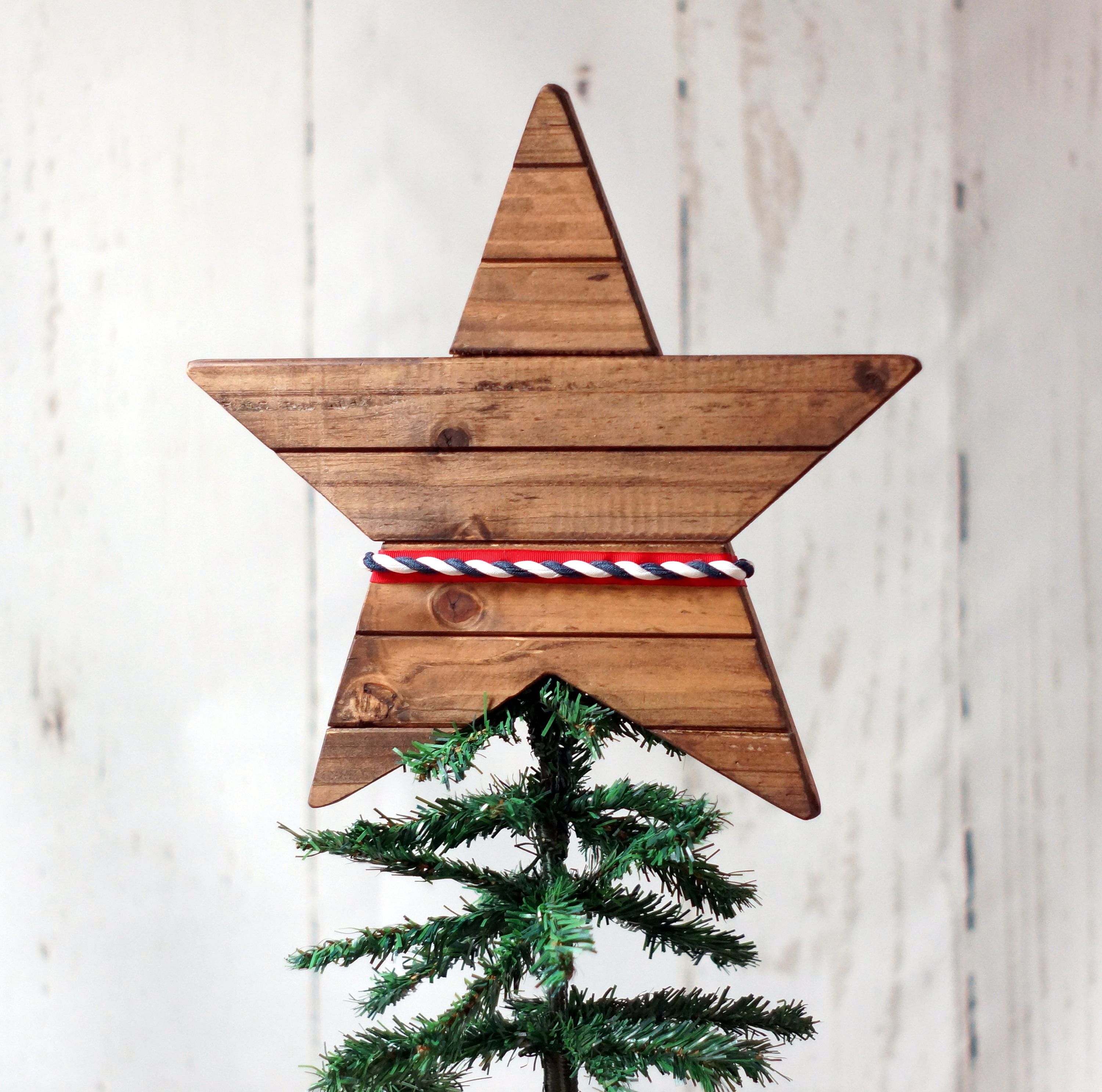 Patriotic Star Tree Topper Rustic Wood Tree Topper Christmas Home Decor Natural Christmas Patriotic Christmas Tree Christmas Tree Decorations Xmas Ornaments