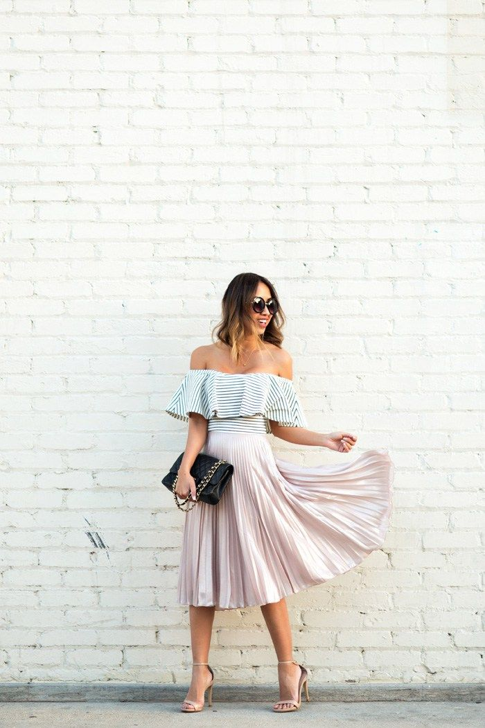 petite fashion blog, lace and locks, los angeles fashion blogger, striped off the shoulder top, pleated midi skirt, topshop skirt, spring outfit ideas, off the shoulder crop top