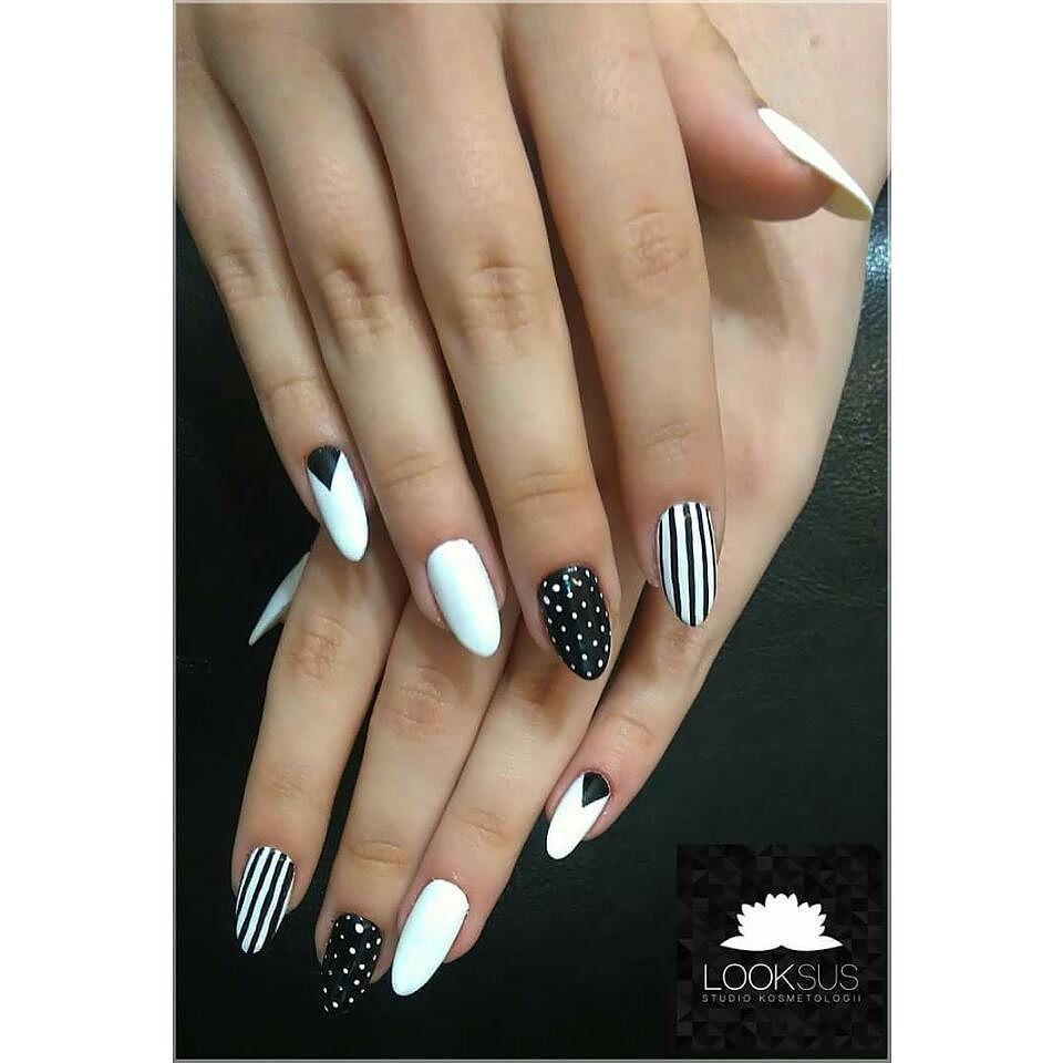 Blackandwhite Black White Nailsart Nails Nailstoinspire