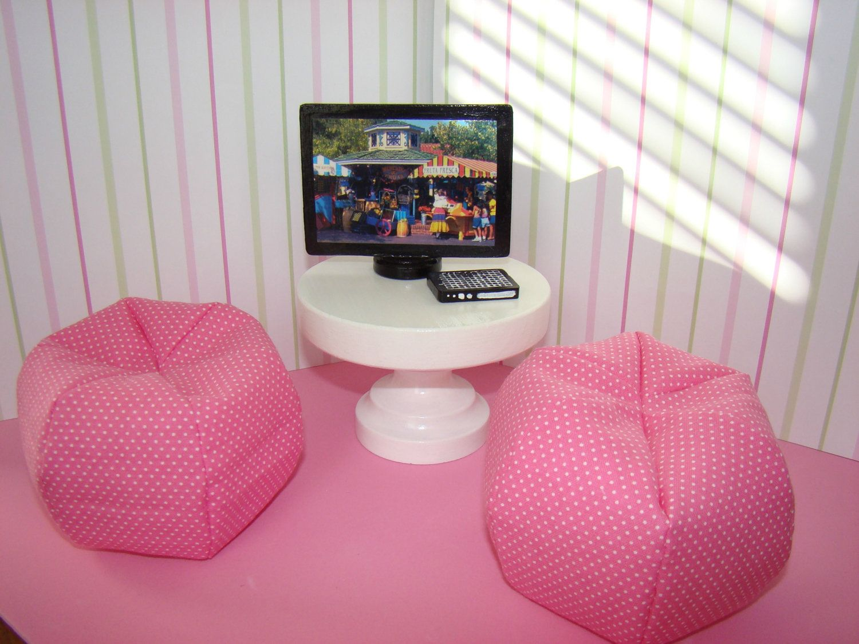 mini bean bag chair savannah's cover rentals & events barbie furniture pink and white polka dot