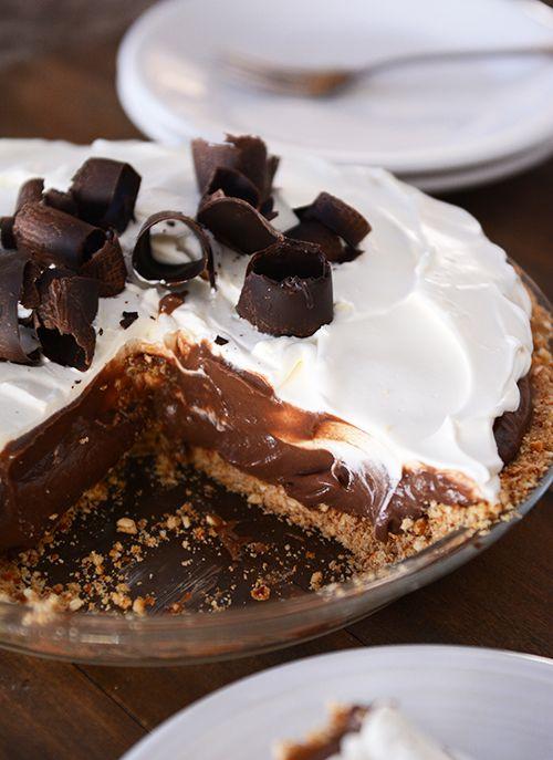 Chocolate Pudding Pretzel Pie (bittersweet chocolate, cream, egg yolks, cream cheese)