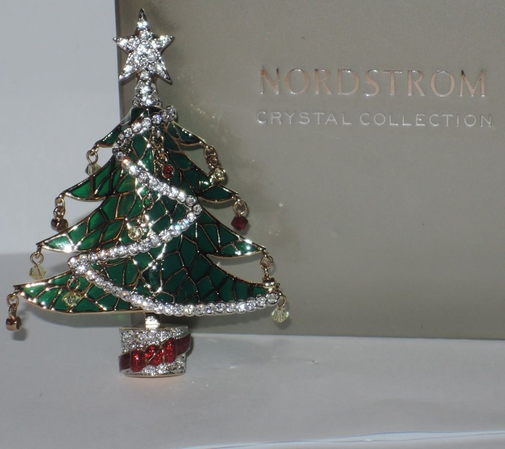 Nordstrom Crystal Collection Plique a Jour Christmas Tree Pin ~ RARE ...