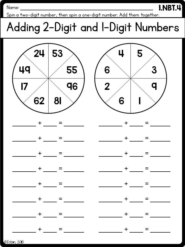 Worksheets Adding Two Digit Numbers Worksheets 1st grade math printables worksheets numbers and operations in base ten nbt