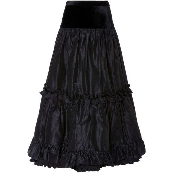 Jill Stuart Roberta Ruffle Skirt (2.314.800 COP) ❤ liked on Polyvore featuring skirts, black, frilly skirt, flounce skirt, tiered ruffle skirt, flouncy skirt and velvet skirt
