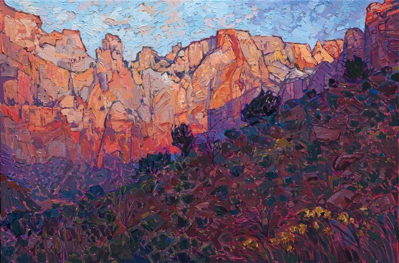 Western Landscape Painting Of Zion National Park By Contemporary Impressionist Artist Erin Fine Art Prints Artists Contemporary Impressionism Western Landscape