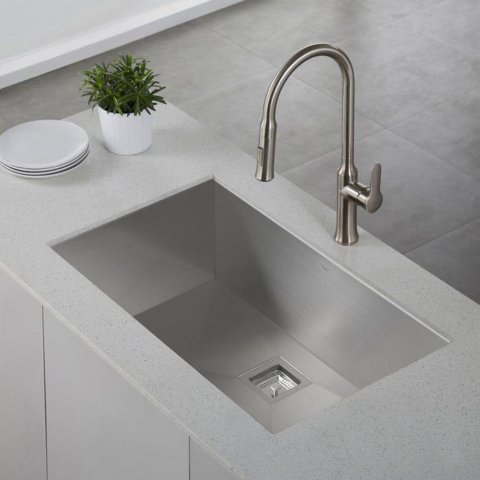 "Pax™ Zero-Radius 31.5"" x 18.5"" 16 Gauge Handmade Undermount Single Bowl Stainless Steel Kitchen Sink"