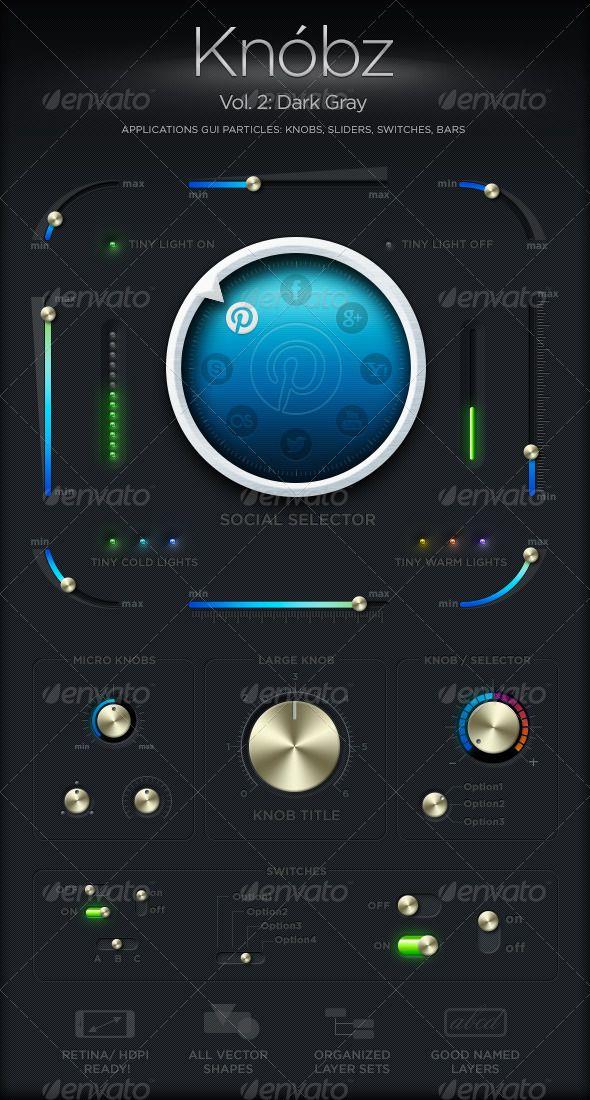 Knóbz Vol 2: Dark Gray | Knóbz UI Set | App design, Android