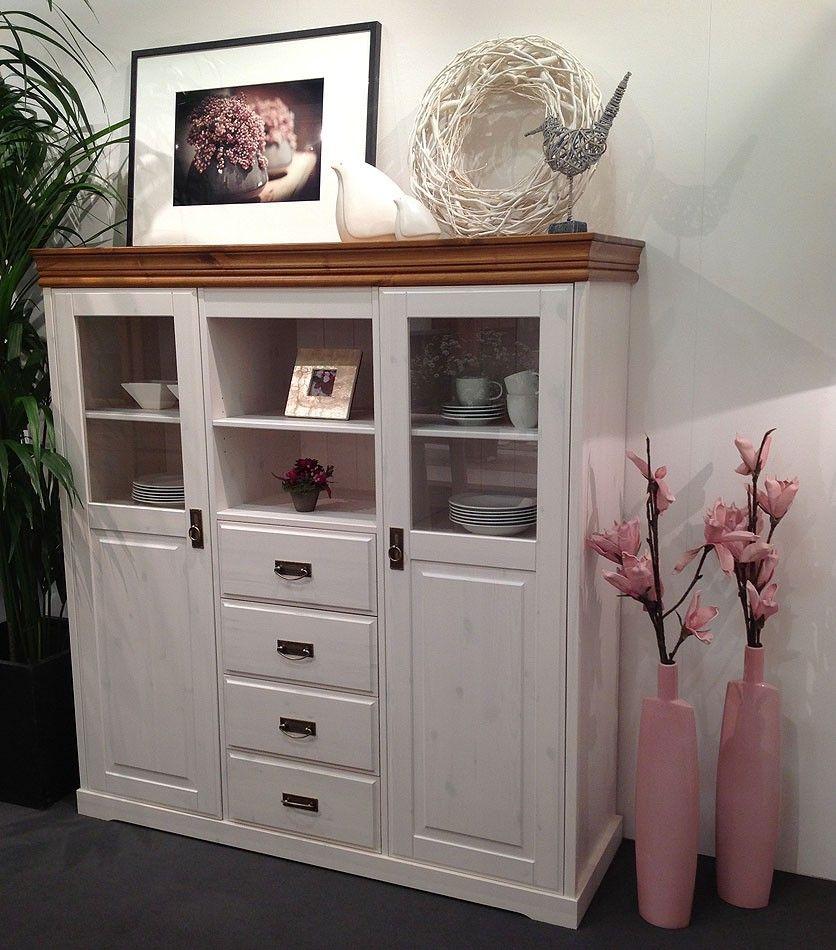 highboard 140x147x43cm 2 t ren 4 schubladen kiefer massiv 2farbig wei gewachst honig. Black Bedroom Furniture Sets. Home Design Ideas