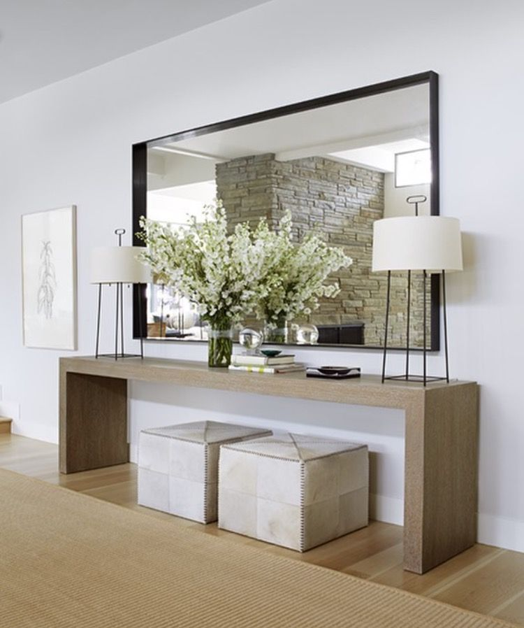 White Entryway With Large Wood Console Table Large Mirror And Ottomans Underneath Modern Hallway Hall Decor House Styles