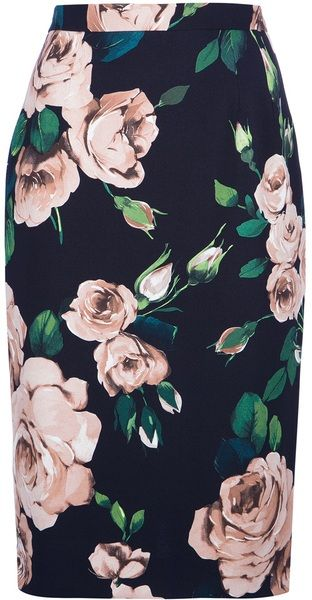 DOLCE GABBANA  Rose Print Pencil Skirt - Lyst