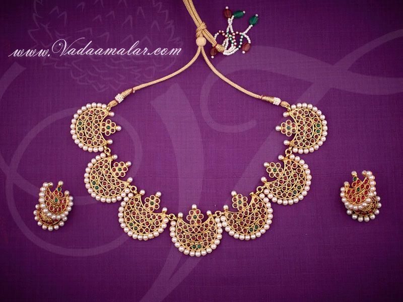 34606390e0375 Gold plated temple jewellery kempu stone necklace set USD 22.65 ...
