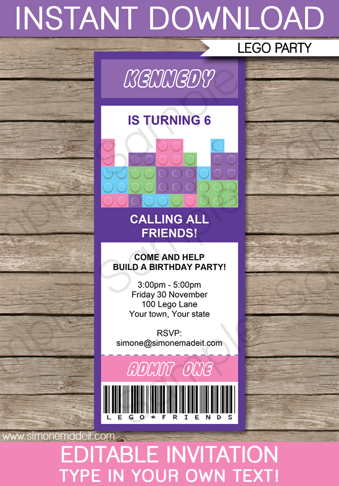 Lego Friends Ticket Invitations Template | Ticket invitation, Lego ...