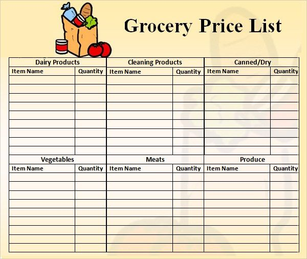 products price list template
