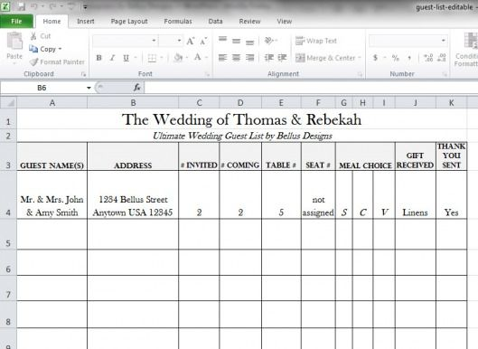 Free Downloadable Wedding Guest  RSVP List! Rsvp, Weddings And Free