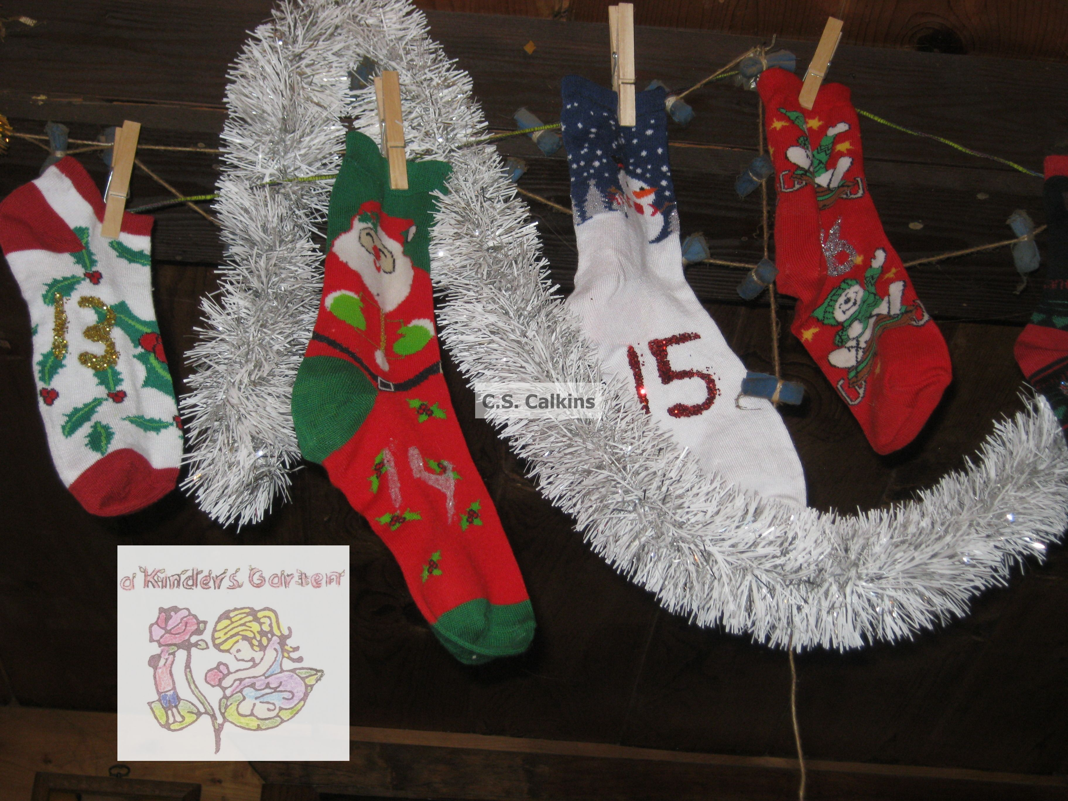 Vintage Santa Christmasstocking Advent Countdown