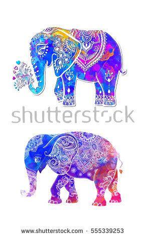 elephant color illustration vector set watercolor print for clothing design - Elephant Color