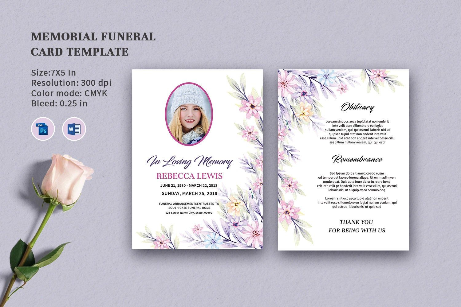 Funeral Program Template Obituary Template 5x7 Funeral Card Template Photoshop And Ms Word Template Instant Download Fp 405 Funeral Program Template Funeral Programs Funeral Program Template Free