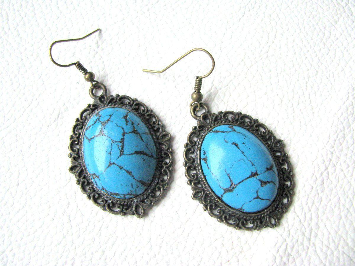 blue turquoise earrings bohemian jewelry blue stone earrings blue