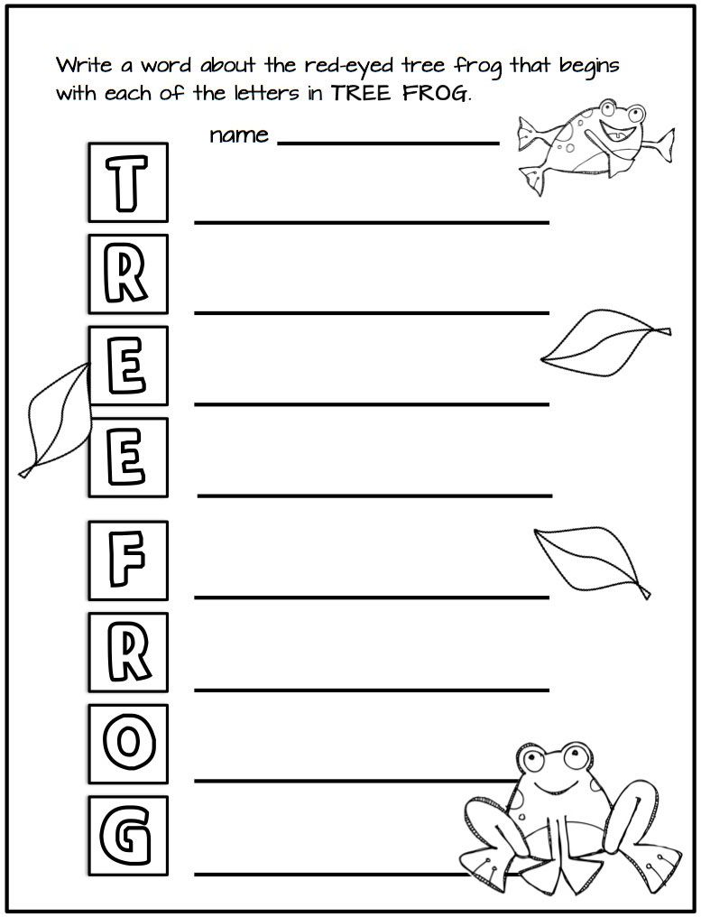 Red-eyed tree frog acrostic poem. Rainforest Animals, Rainforest Activities,