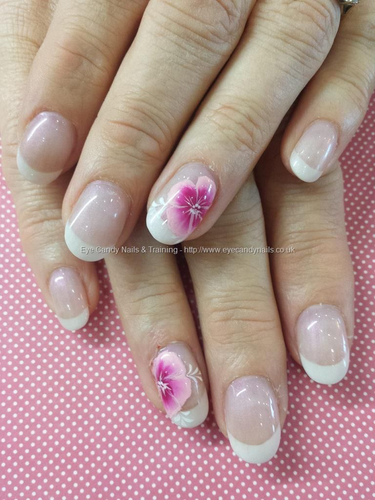 White tips with one stroke flower nail art NailArt Nails