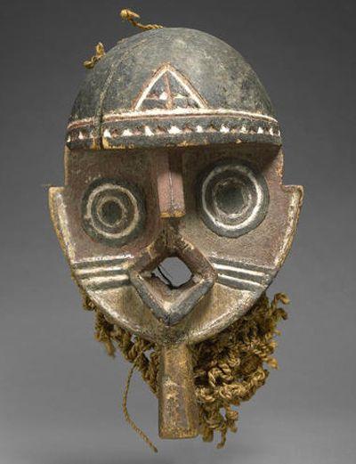 Africa   Nuna/Gurunsi Mask, Burkina Faso  Carved wood with pigment and woven fiber cordage