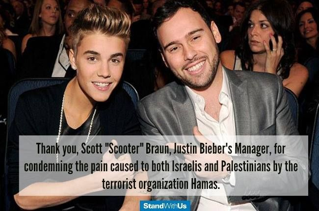 "Thank you Scooter Braun for expressing his support for the state and people of Israel by signing Creative Community For Peace's ""Commitment to Justice and Peace"" Statement."