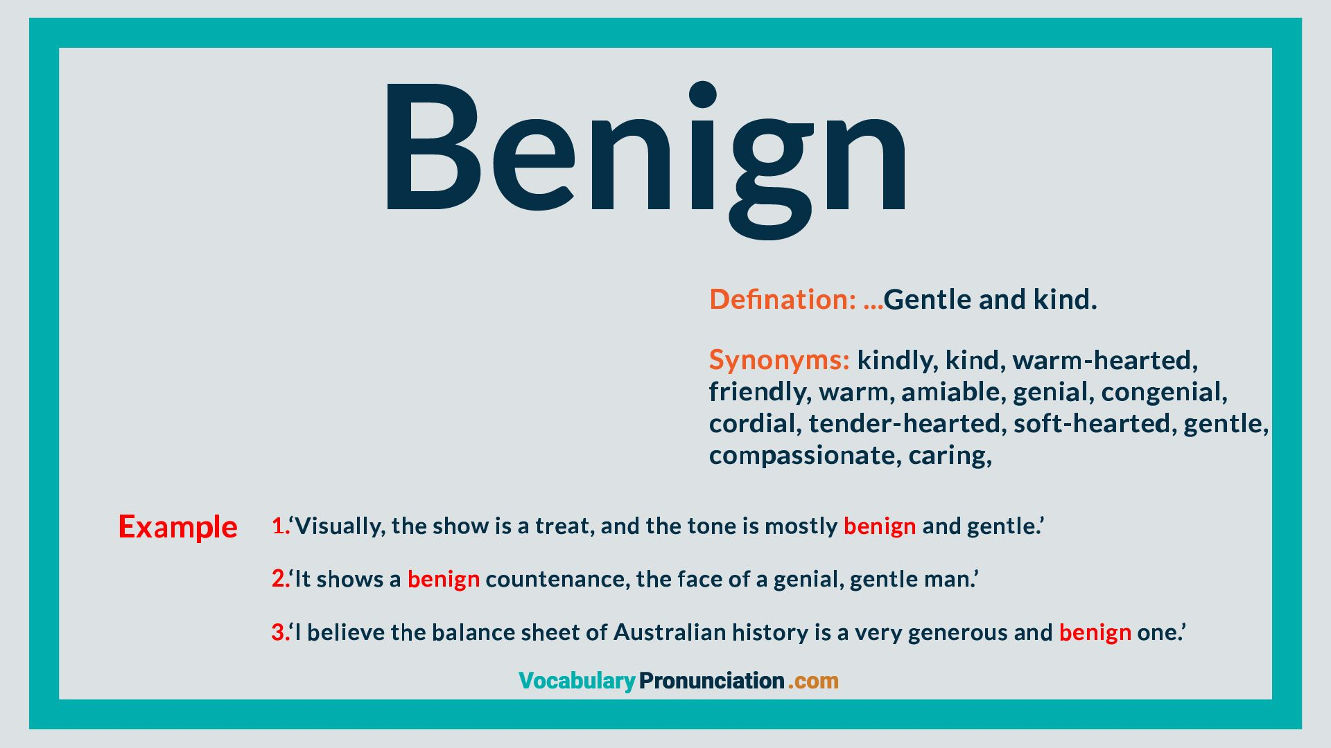 Benign  How to pronounce, English words, Words