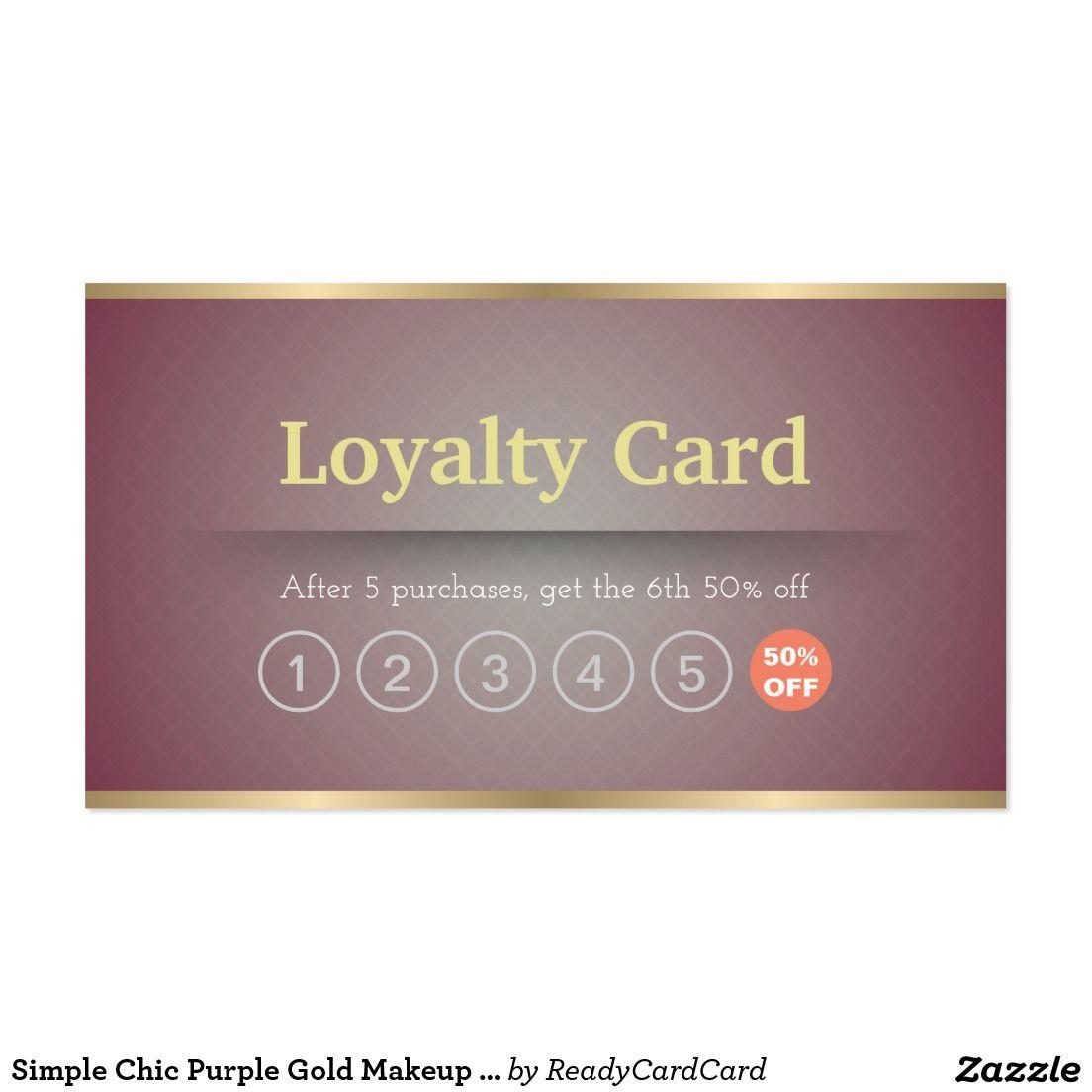 Simple Chic Purple Gold Makeup Hair Salon Loyalty Business Card ...