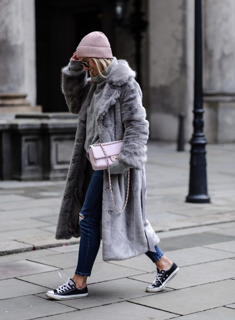 Grey Long Oversized Faux Fur Coat (aylinkoenig) | Streetstyle ...
