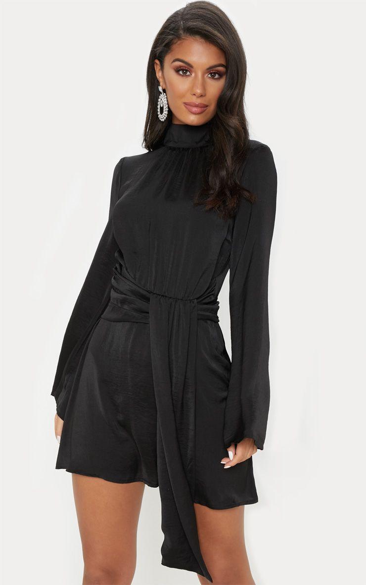 28892a6e44 Black Hammered Satin High Neck Drape Bodycon Dress in 2019