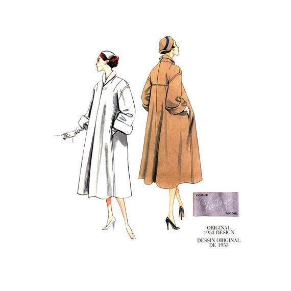1950s Coat Pattern Uncut Vogue V1083 Reissue Swing Clutch Coats ...