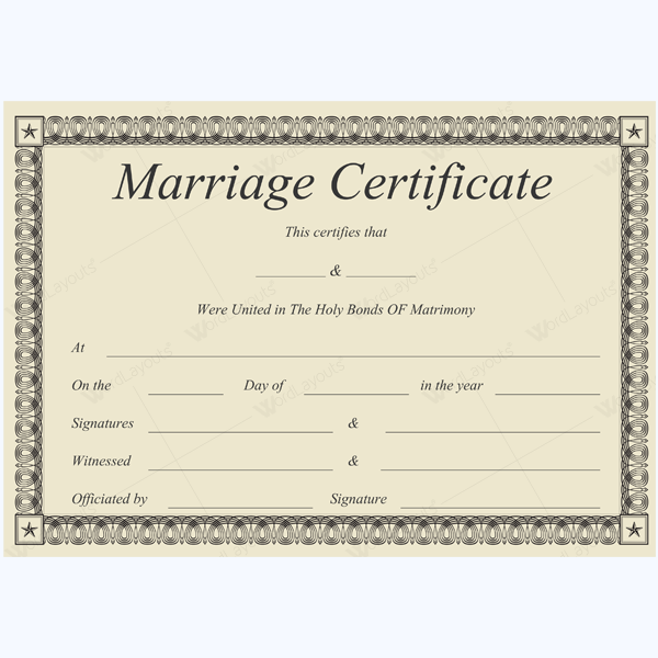 Formal Marriage Certificate Marriage Certificate Template