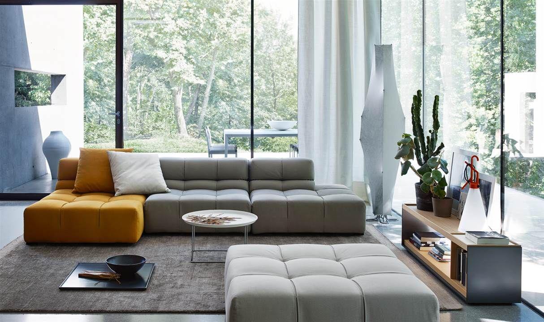 Sofa Tufty B&B Italia - zwarte aluminium pui - lichte woonkamer ...