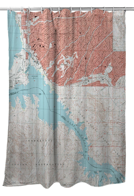 Topo Map Of Arizona.Az Lake Havasu City South Az 1994 Topo Map Shower Curtain In
