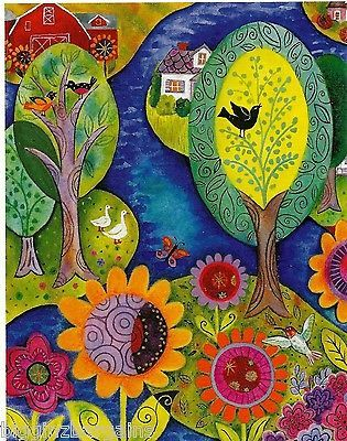 Janet-Broxon-Folksong-100pc-Boxless-Puzzle-Floral-Farm-Bird-Tree-Water-NEW-