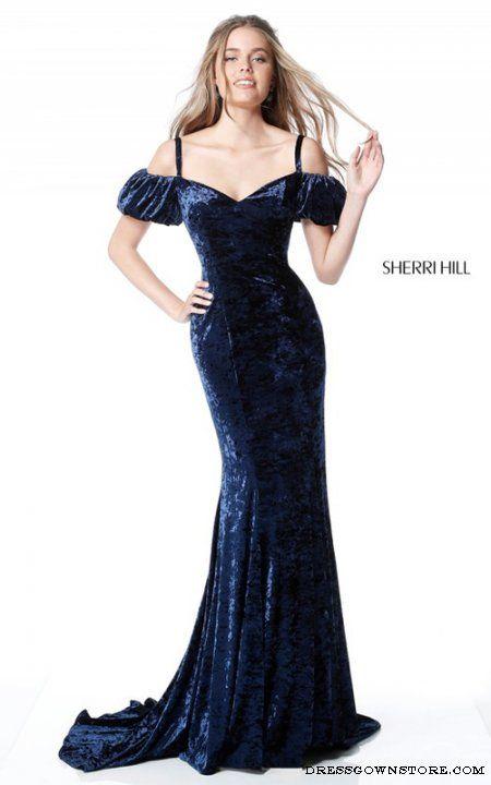 Sherri Hill 51406 Navy Off the Shoulder Long Prom Dress ...