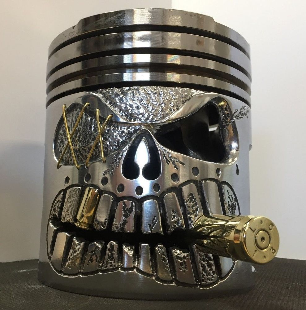 Hand Carved  HUGE CUMMINS N 14 Diesel Piston Skull for Decor / Display ,Man Cave #mancave