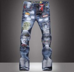 Item Type: Jeans Gender: Men Material: Denim,Cotton,Spandex Fit Type: Loose Closure Type: Zipper Fly Decoration: Pattern Jeans Style: Cargo Pant