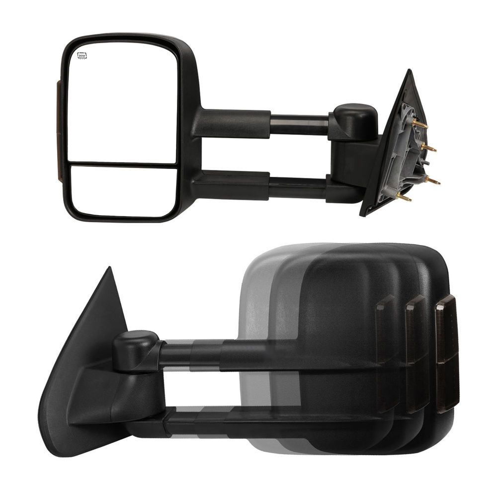 New Driver//Left Side Power Heated Smoke LED Tow Mirror for Chevy//GMC 2014-2017