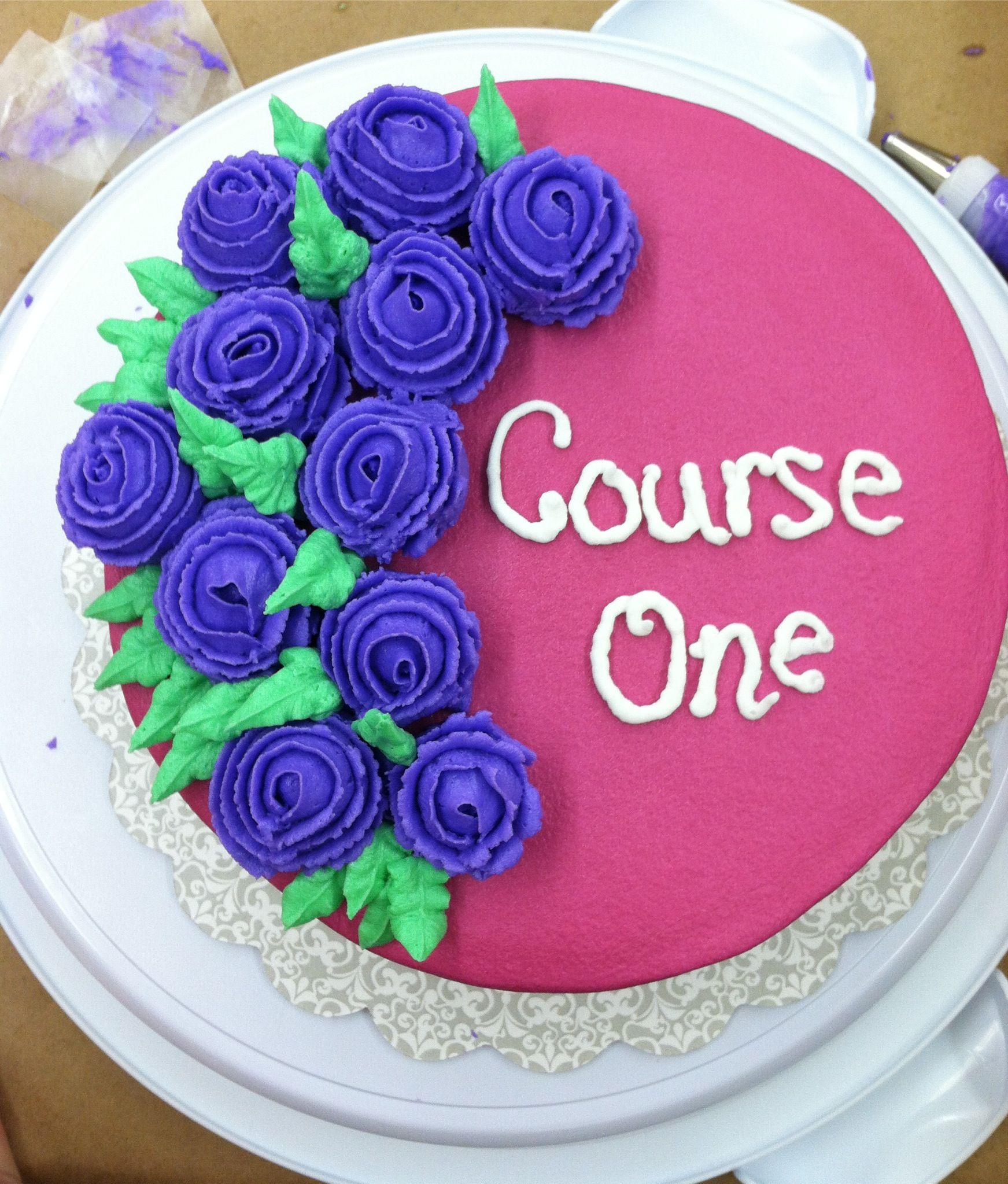 Final Cake In Course 1 At Michaels Chelmsford Ma 10 2 12 Wiltoncontest Cake Cake Decorating Classes Cake Decorating
