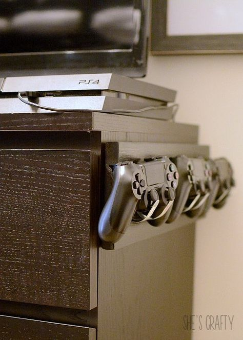 I finally solved a problem that we've had at our house for years-     I made a holder for video game controllers.