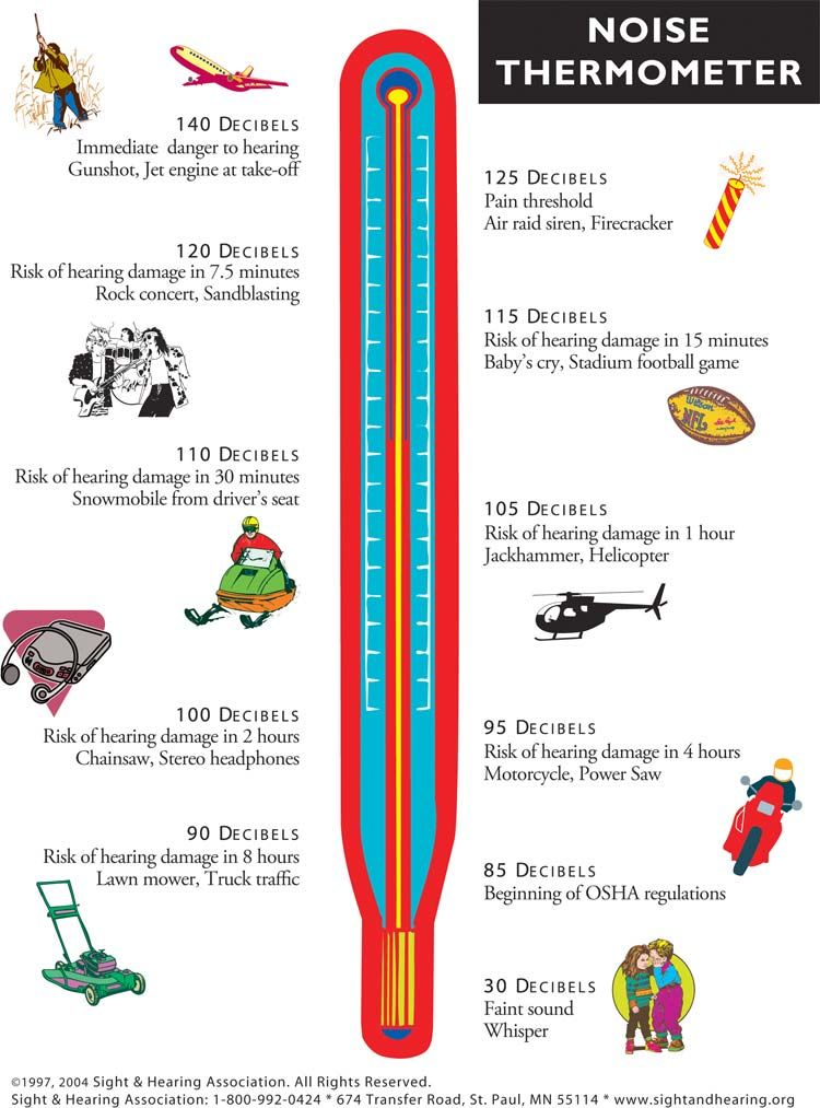 chart displaying the noise level in decibels of various activities ...