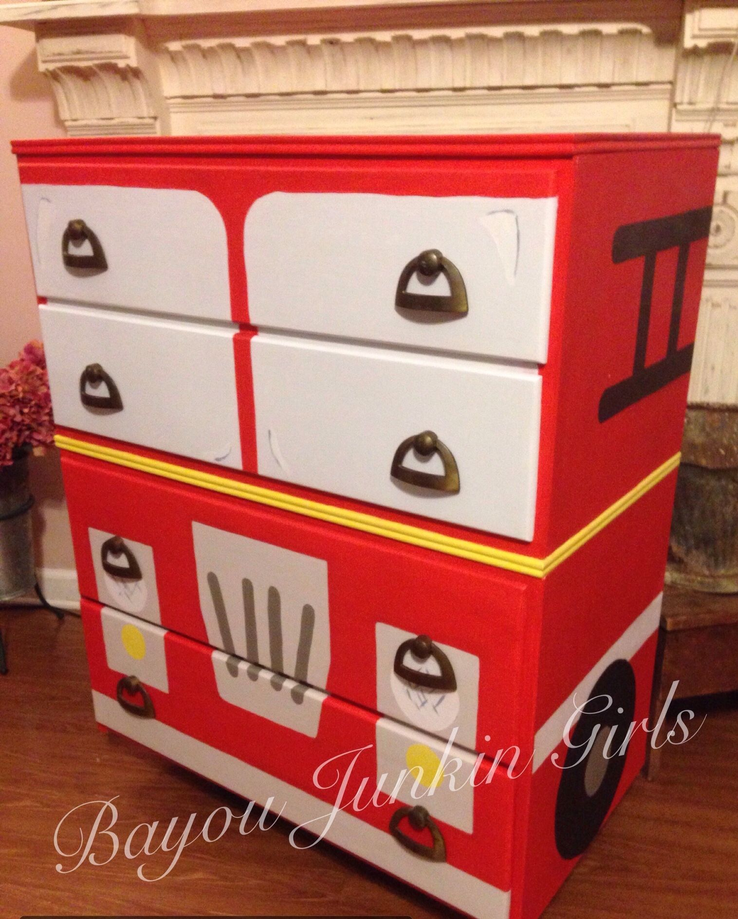 Fire Truck Dresser Painted In 9 Different Colors From Htp And Diy