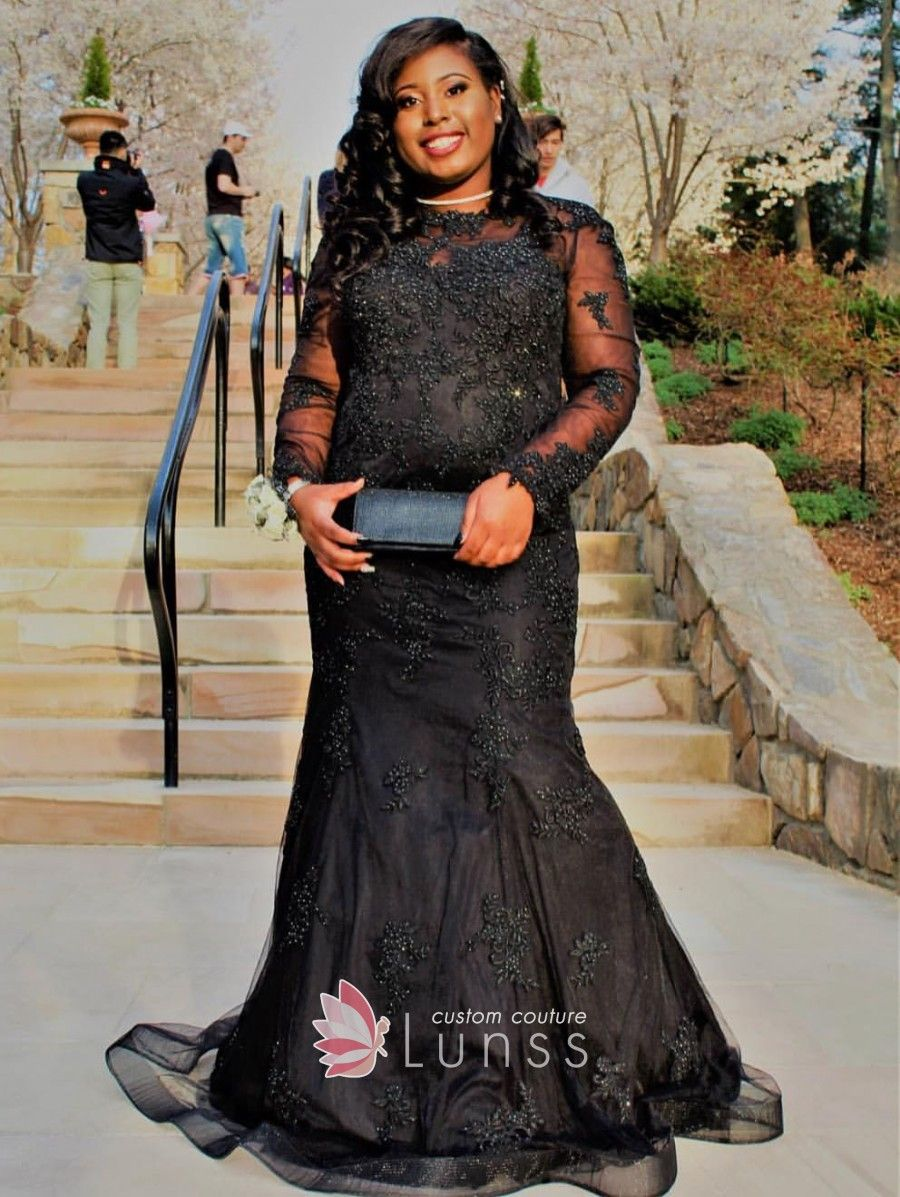 Beaded embroidered black tulle long sleeve plus size mermaid prom gown Long  Sleeve Evening Dresses 83eb2dbf213b
