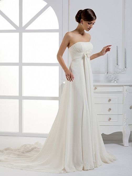 2012 Fall Strapless Chiffon Over Satin Bridal Gown With Empire Waiststunning