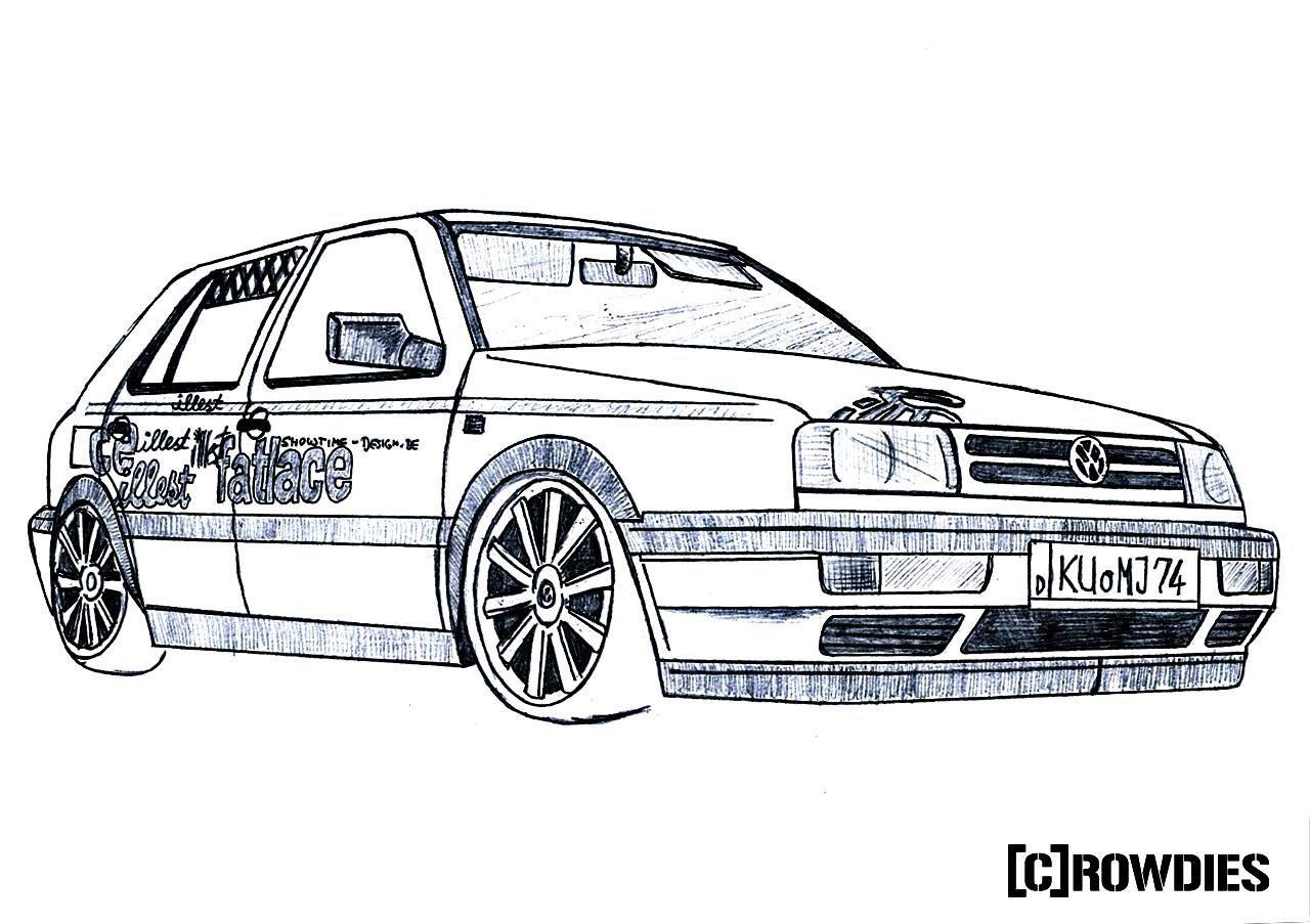 drawing zeichnung  car pictures golf gti vw golf vr6